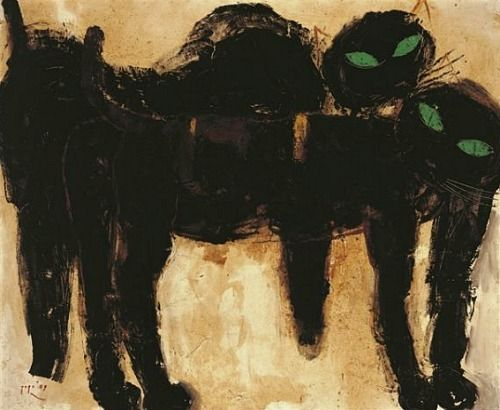 "Indonesian Painter Popo Iskandar ""Two Black Cats With Green Eyes"" <3 <3 <3"