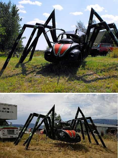 Spider Bug! 15 Spooky VW Beetle Car Art Sculptures | Urbanist - This car reminds me of my childhood! It's been there as long as I can remember.