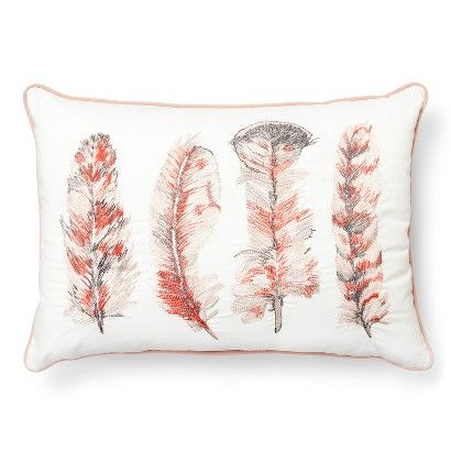 Embroidery Cream Decorative Pillows : Threshold Embroidered Feather Oblong Decorative Pillow - Cream Bedroom Pinterest Feathers ...