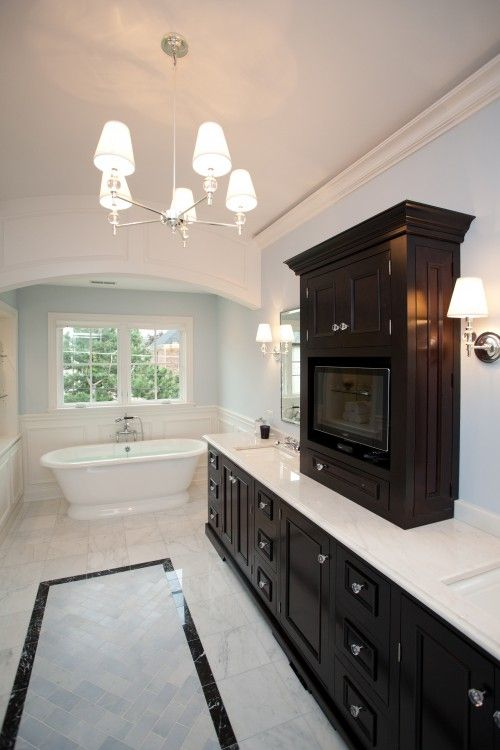 Like the floor design and the pristine clean look.: Clean Design, Kids Bathroom, Dark Cabinets, Blue Wall, Colors Schemes, Master Bath, Bathroom Ideas, Traditional Bathroom, Cabinets Design