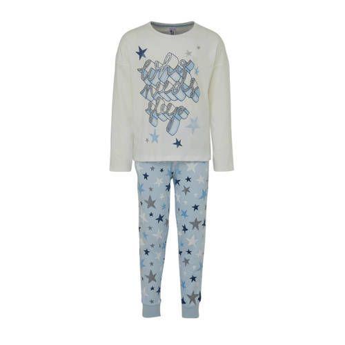 Pyjama met sterren en glitter tekst ecru/blauw Mei…