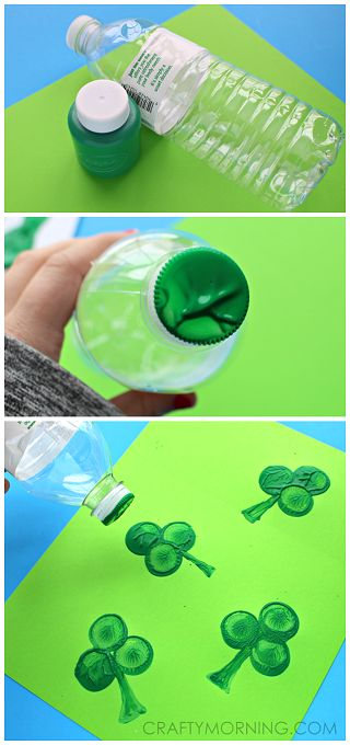 Make shamrock stamps using a water bottle cap! Easy st patricks day craft for kids! | CraftyMorning.com
