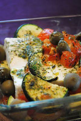 Gebackener Feta auf Ofengemüse