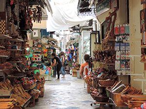 Souk-like shops in Corfu Town