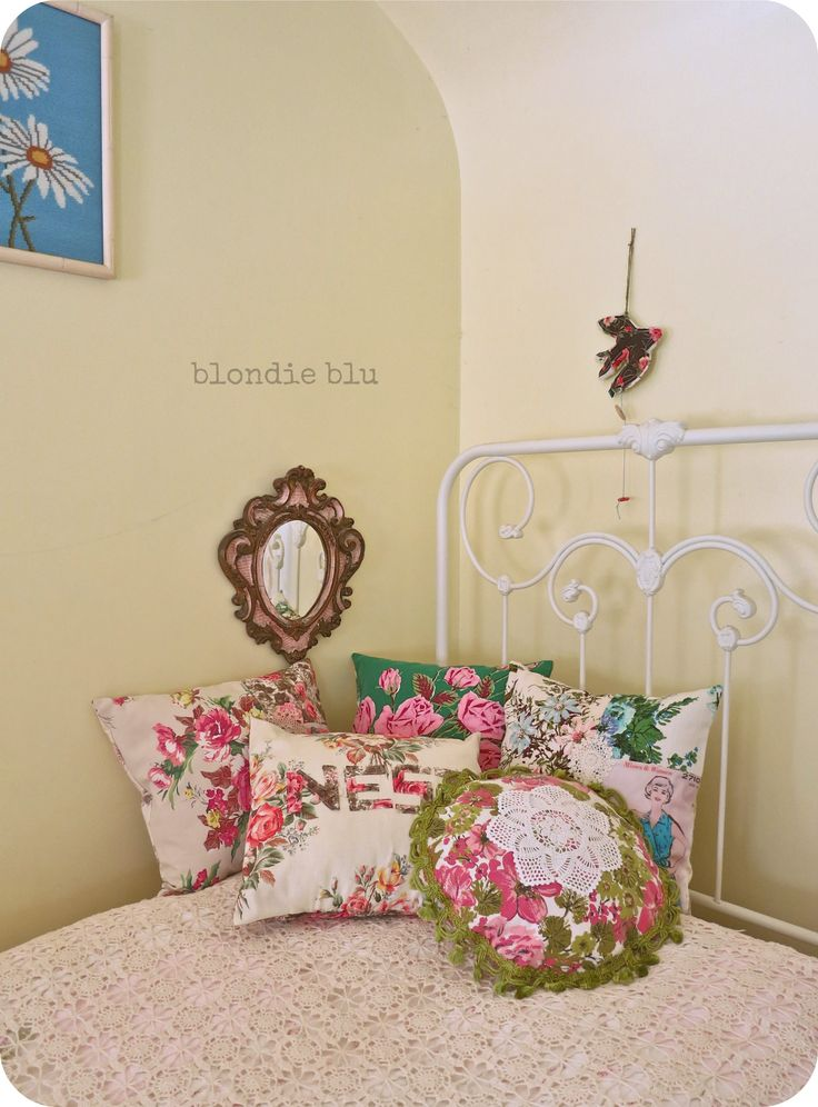 pretty pillows made from vintage fabrics.