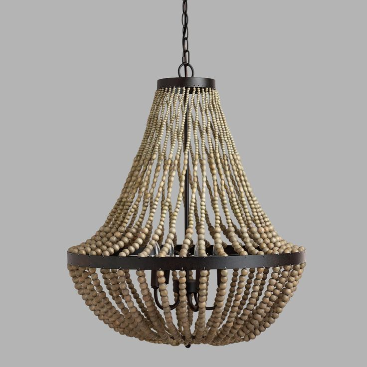 Infuse Victorian-inspired romance into your space when you light it with our elegant and affordable Large Wood Bead Chandelier. This gorgeous piece hangs beautifully, diffusing warm light between its strands of taupe-hued wood beads for a supremely sophisticated look.