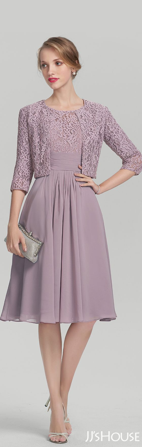 A-Line/Princess Scoop Neck Knee-Length Chiffon Lace Mother of the Bride Dress With Ruffle#JJsHouse #Mother dresses