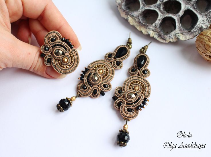 """earrings and ring """"Black Bronze """" soutache , quartz and glass beads , Japanese beads , lace elements obratka-"""