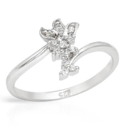 Ladies Ring With Cubic Zirconia Ladies ring with 925 sterling silver. Total item weight 1.7g. Size 6. Gemstone info: 13 cubic zirconia, 0.10ctw., with round shape and white color.