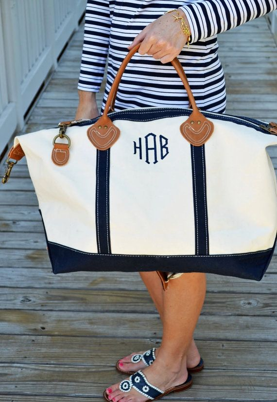 Youll fall in love with our Monogrammed Canvas Deluxe Weekender Duffle Bag! It is truly a luxury item at an affordable price. It is roomy