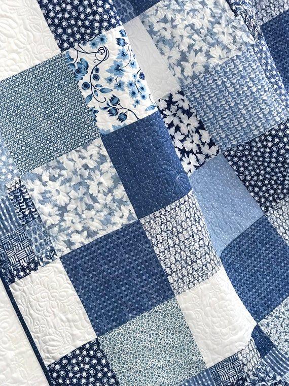 King Patchwork Quilt W Designer Fabrics Blue White Ella