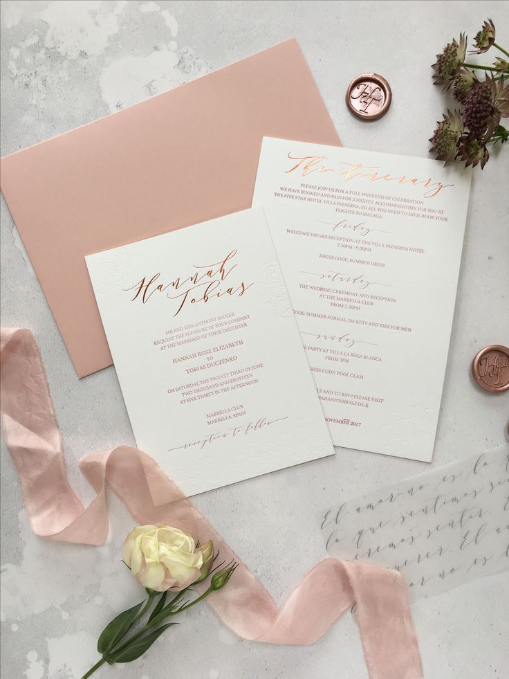 spanish wedding invitations uk%0A Bespoke wedding invitation suite design for a blush and white Spanish  wedding  Featuring blush letterpress