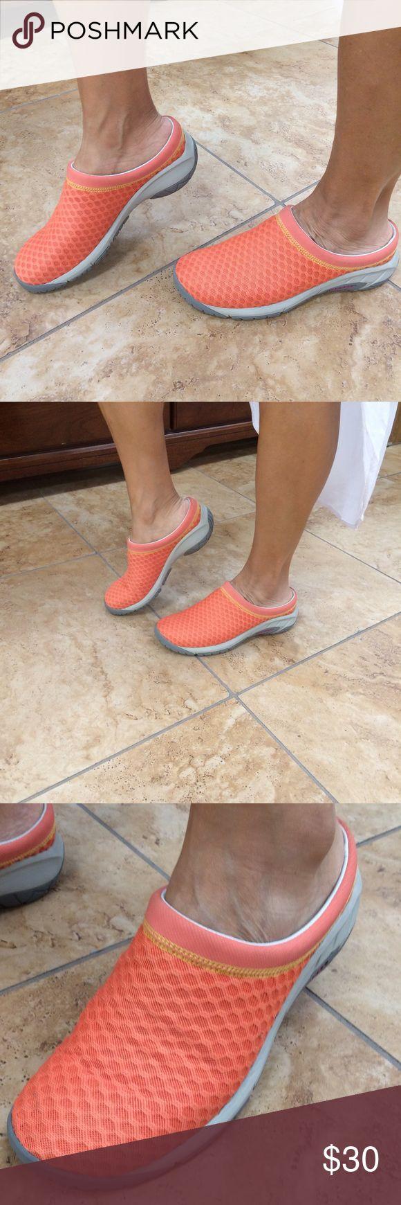 Merrill slip ons Great orange or melon color Merrill slip ons. Size 8. Merrill Shoes Mules & Clogs
