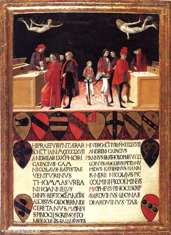 Le finanze del Comune in tempo di pace ed in tempo di guerra. Nel 1468.  Autore: Meo del Guasta  Tempera su Tavola