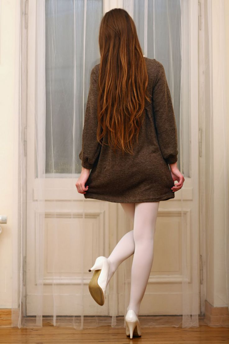 White Opaque Pantyhose White Heels And Dark Green Wool