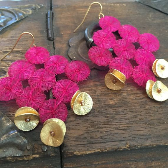 Pink and gold dangling long earrings