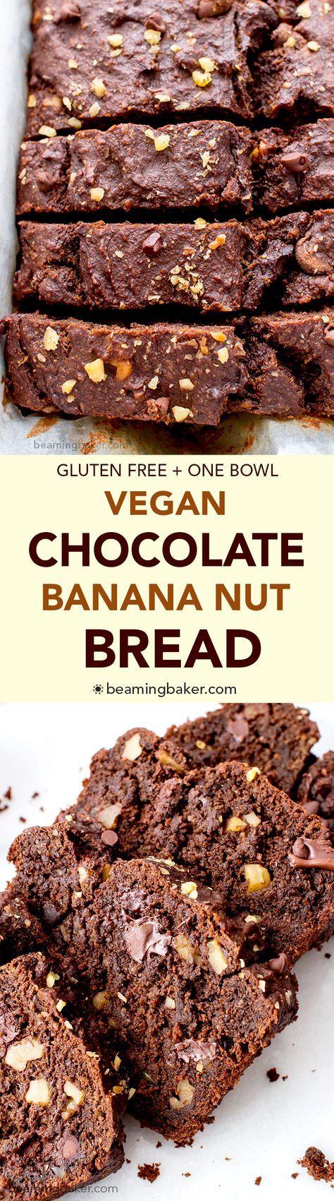 Vegan Chocolate Banana Nut Bread (V+GF): A one bowl recipe for rich, moist and chocolatey banana bread with walnuts. #Vegan #GlutenFree | http://BeamingBaker.com
