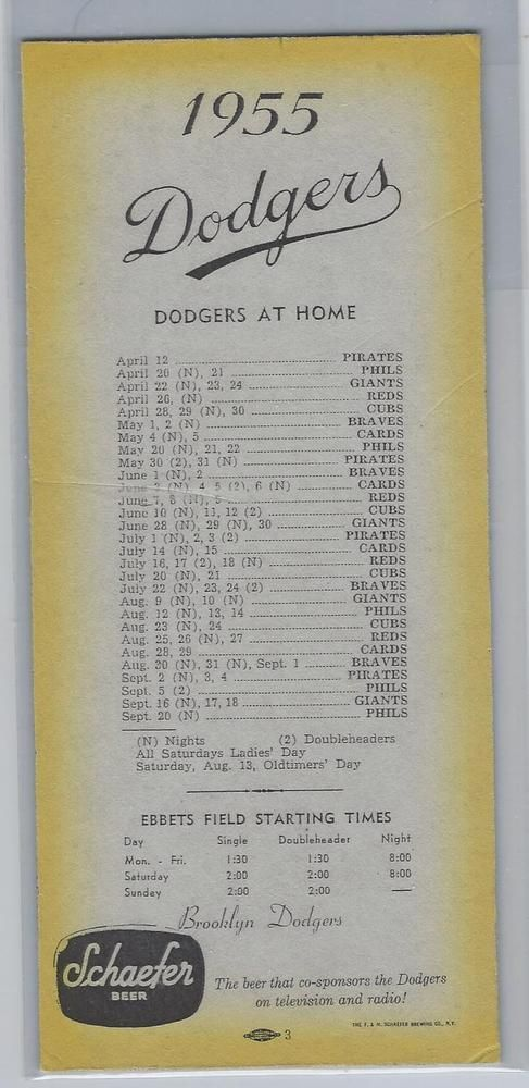 1955 brooklyn dodgers home and road schedules - championship year - rare!! from $49.99