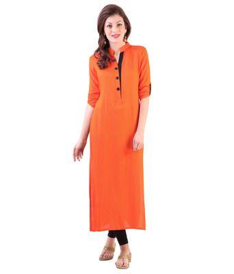 Designer Orange Color Kurti Kurtas and Kurtis For Women on Shimply.com