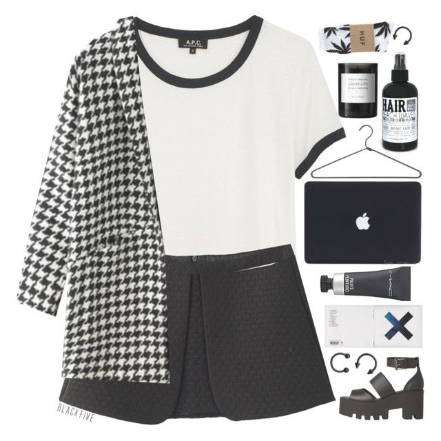 """137. If You're Thirsty You Can't Sit With Us"" by elainesabine ❤ liked on Polyvore featuring A.P.C., Windsor Smith, KEEP ME, PERIGOT, MAC Cosmetics, Byredo, HUF, QOTD, aotd and elainestopsets"