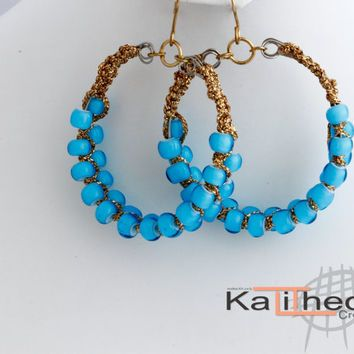 Macrame on wire, Baby Blue Glass Bead Earring Hoops. A great trending addition to your Casual accessories