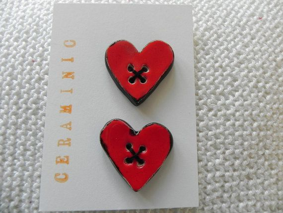Valentine's Day Ceramic Heart Buttons Red and Black by Ceraminic