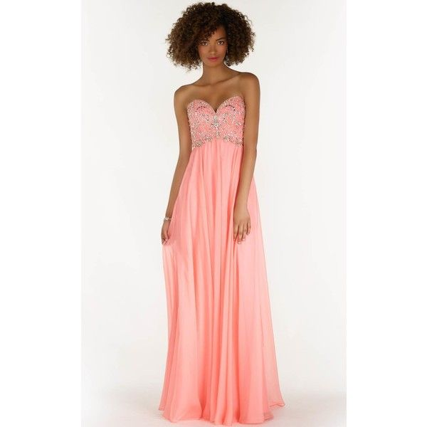 Alyce 6682 Wedding Guest Dress Long Strapless Sleeveless ($370) ❤ liked on Polyvore featuring dresses, coral, formal dresses, formal cocktail dresses, white formal dresses, strapless prom dresses, long white dress and coral prom dresses