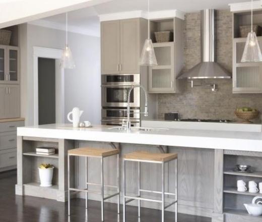 muted grey island kitchen