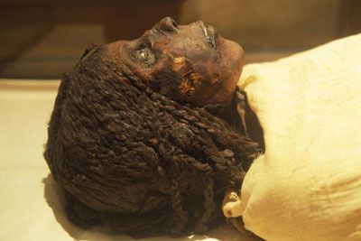 """Here lies Queen Nodjmet, the wife of High Priest Herihor (1080-945 B.C.), at Egypt's Cairo Museum in April 2006. She died many years after her husband and carried the title """"Mother of the King."""" Check out her hair!  Image Credit: Patrick Landmann/Getty Images"""