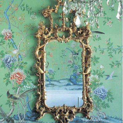 chinoiserie wallpaper and oriental mirror