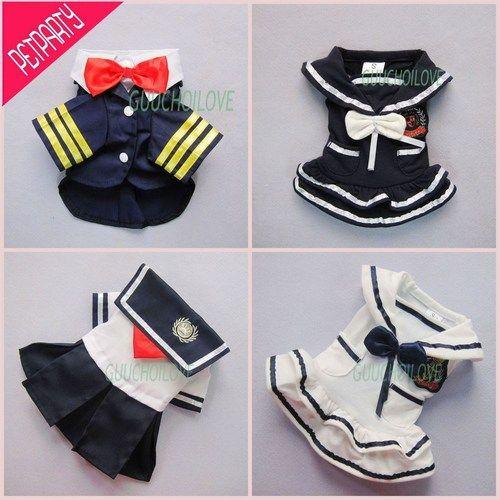 Sailor Náutico elegante para a roupa do cão de estimação vestido camisa Trajes Frete Grátis ★   eBay
