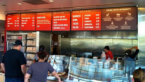 new chipotle menus with interstate font