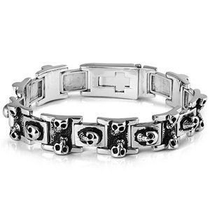 """9'' BIKER SKULLS MEXICAN DEATH HEAD CROSS SKULLS STERLING SILVER Tone Black Bracelet THE ICE EMPIRE. $51.95. CLASP: MANUAL TOGGLE. SKULL HEADS. LENGTH:9"""". METAL: STAINLESS STEEL. Save 33% Off!"""