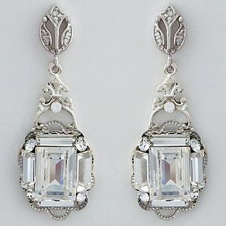 Cheryl King Couture Bridal Jewelry. Statement Deco crystal  bridal earrings with a Gatsby vibe.  Show stopping earrings for any occasion.