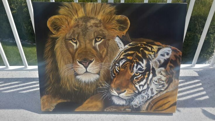 Lion and Tiger - oil painting by denise reichert - easel life