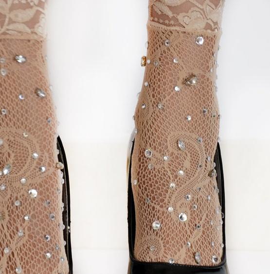 Lace Socks with rhinestones