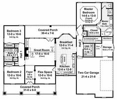 Country Style House Plan - 3 Beds 2 Baths 1800 Sq/Ft Plan #21-190 Floor Plan - Main Floor Plan - Houseplans.com