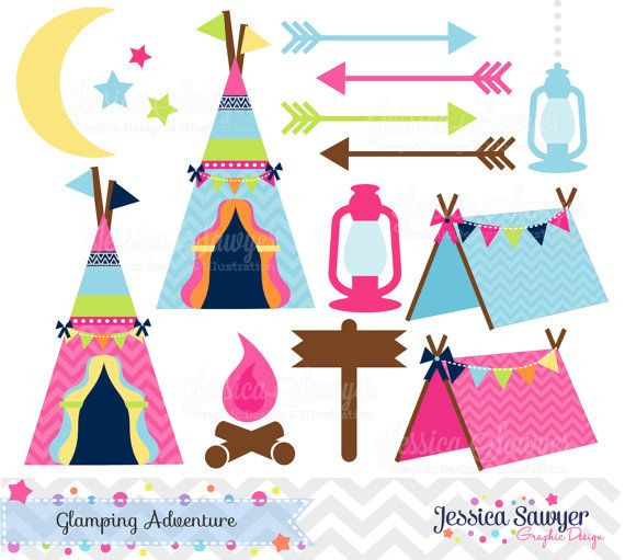 INSTANT DOWNLOAD, glamping clipart, for camping party, commercial use ...