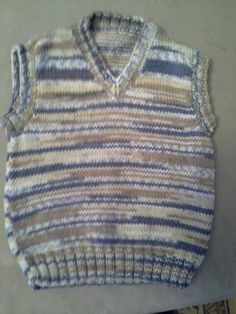 Boy's vest knitted from Sirdar Snuggly Crofter.