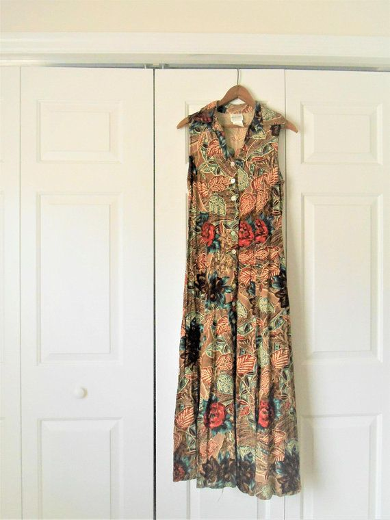 cf0f6bf43f5 Vintage 90 s earthy tone floral print Summer Dress in 2018