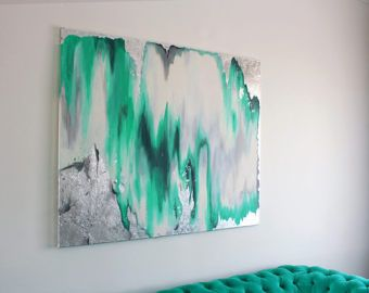 Ready to Ship Acrylic Abstract Art Large Canvas Painting White, Grey, Mint, Silver Leaf