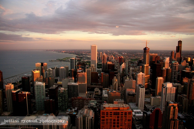 Sunset over Lake Michigan and Chicago - view from John Hancock towerFantastic Places, Art Photographers, Bettina Zygmont, Chicago View, Carter Offices, Chicago Sunsets, Lakes Michigan, Hancock Towers, Illinois Lakes