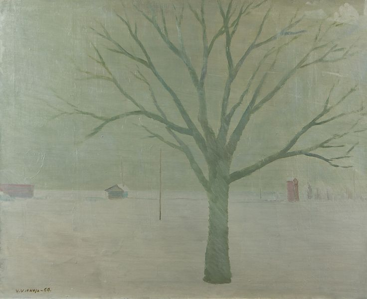 Veikko Vionoja: Puu, 1960, öljy, 65x81 cm - Hagelstam A142