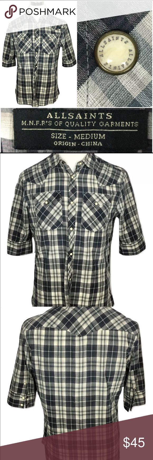 "All Saints Men's plaid shirt snap buttons Size M An excellent used condition All Saints Men's black and white plaid shirt with snap buttons. Size Medium.  Dimensions:  Length:- 28"" Chest:- 21"" Shoulder:- 18"" Sleeve:- Short sleeved  Thanks for viewing! All Saints Shirts Casual Button Down Shirts"