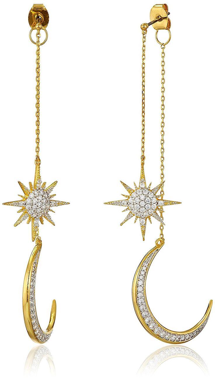 Amazon Com Noir Jewelry Star And Moon Drop Earrings