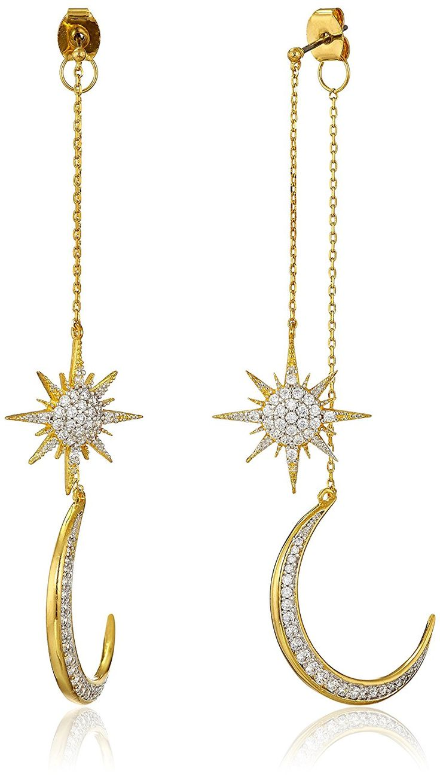 Amazon.com: Noir Jewelry Star and Moon Drop Earrings: Jewelry