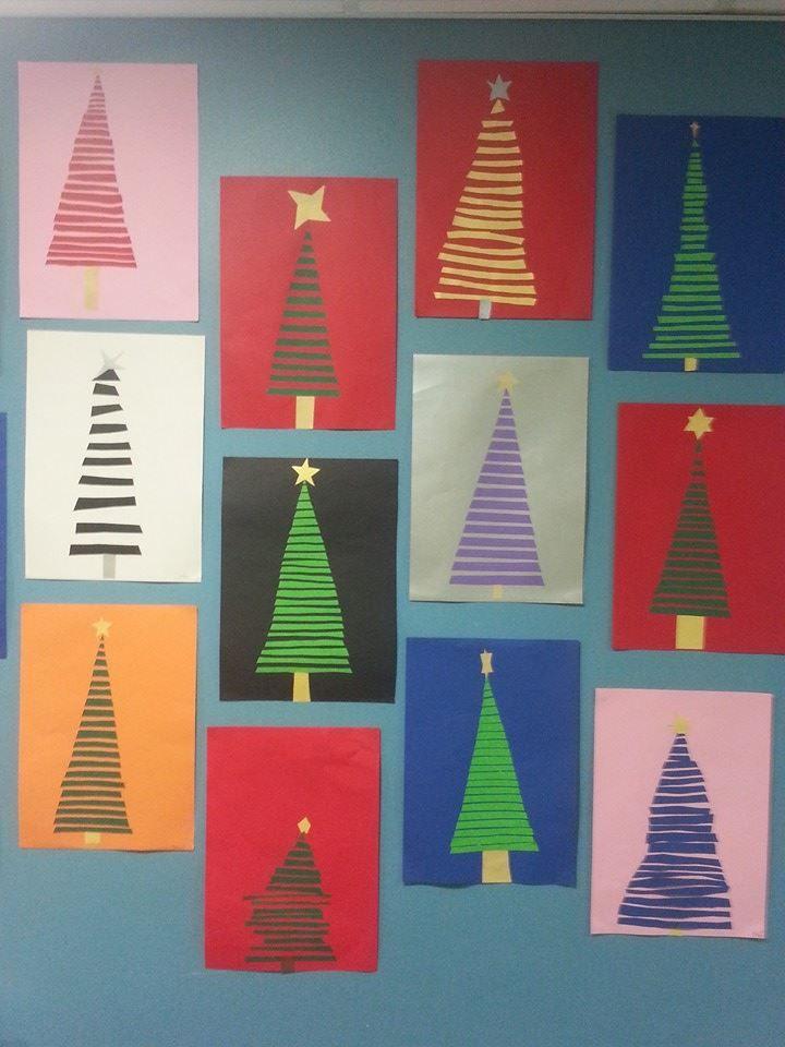Paperisuikaleista tehty joulukuusi. A3 -kokoinen taustapaperi. Tähdiksi kultaa tai hopeaa.  (Alakoulun aarreaitta FB -sivustosta / Tiina Hagström)