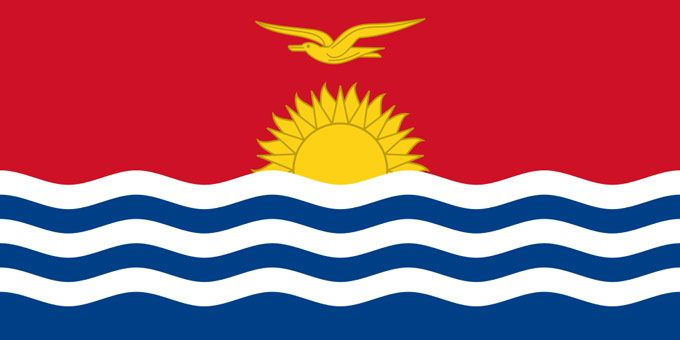 This is the national flag of Kiribati, an island nation located in the central Pacific Ocean. Want to learn more? Check out these Kiribati maps.