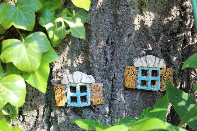Handgefertigtes Keramik Fensterset 2 teilig zur Feen Deko für einen Baum oder ähnlichen. Eurer Fantasie sind keine Grenzen gesetzt...taucht mit mir in eine anders Welt...eine Welt in der...