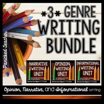 I've bundled my 3 CCSS Writing Units (Opinion, Informational, and Narrative) into 1 zipped folder! By purchasing this bundle, your will receive a NICE savings and have the 3 units in one convenient file.